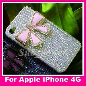 New 3D Rhinestone Pink BOW Bling Crystal back Case cover for iPhone 4