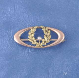 Antique Victorian 10k Gold Pearl Wreath Pin/Brooch