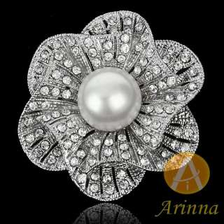 ARINNA clear flower pearl rhinestone fashion Brooch Pin 18KWGP