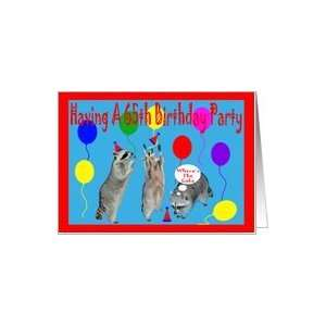 for 65th Birthday Party, Raccoons with party hats and balloons Card