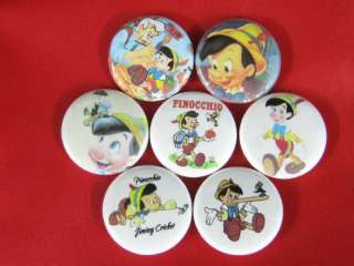 PINOCCHIO WOOD NOSE 7 Pinback Buttons badge type pin