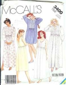 Robe & Long/Short Nightgown Sewing Pattern Plus Size 18 20 3400