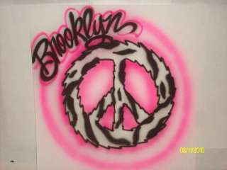 Airbrush zebra print peace sign T shirt personalized