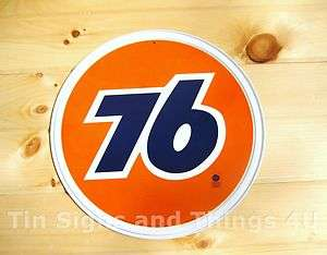 Union 76 Motor Oil Gasoline ROUND TIN SIGN vtg gas garage wall decor