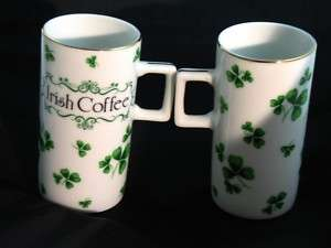 Irish Coffee Mug Lefton Handpainted Clover Porcelain 2