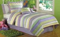 Handmade Purple Stripe Kids Children Girls Bedding