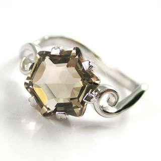 5ct Natural Smoky Quartz Ring 925 Sterling Silver Size 6 7 8 9