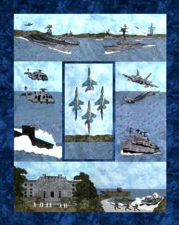 UNITED STATES NAVY Quilt Pattern 9 Blocks Submarine +