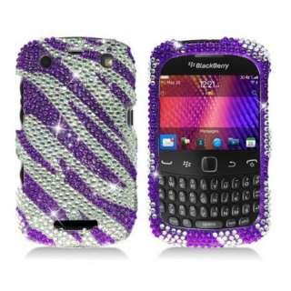 Purple ZEBRA Rhinestone DIAMOND Case for BlackBerry CURVE 9350 9360