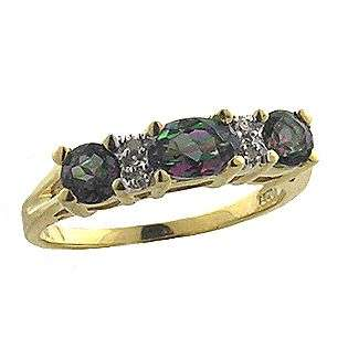 Stone and Diamond Ring. 10k Yellow Gold  Jewelry Gemstones Rings