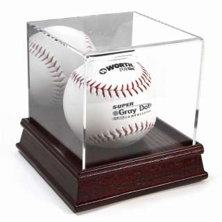 NEW CHERRY WOOD BASE SOFTBALL DISPLAY STAND CASE