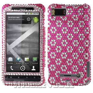 Bling Diamante Rhinestone Hard Case Cover For Motorola DROID X MB810