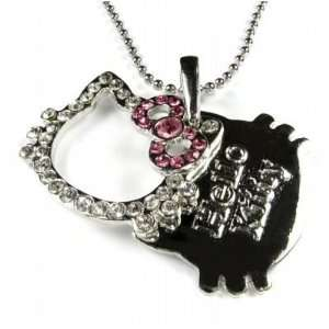 Kitty Tag Crystal Necklace Pendant Hot