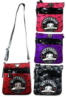Licensed Betty Boop Crossbody Messenger Bag Black Red Purple Fuschia