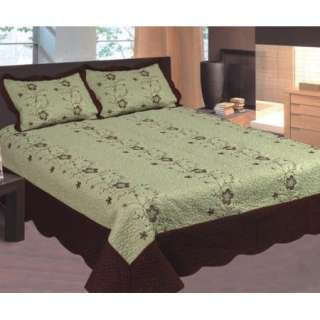 3Pc Bedspread set sage/brown Queen quilted embroidered pillow shams
