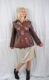 SEXY COOL 90s Brown Shiny PVC Trench Coat Jacket PUNK