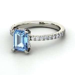 Reese Ring, Emerald Cut Blue Topaz 14K White Gold Ring