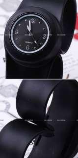 Bulk Slap Snap On Lady Mens Silicone Jelly Bracelet Watch White Black
