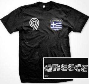 Greece Flag Retro Shield T Shirt Jersey Greek Soccer