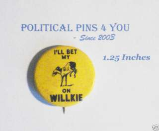 Campaign pinback button political badge Wendell Willkie