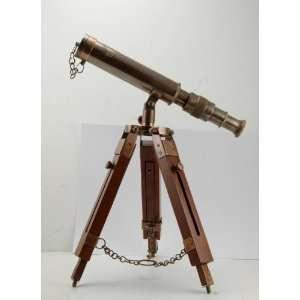 Antique maritime brass spyglass Telescope tripod stand