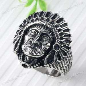 Vintage Indian Tribe Chief Stainless Steel Ring #11 1pc XMAS GIFTS