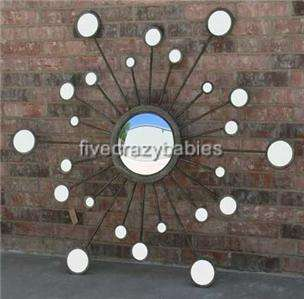 Extra Large XL Convex Starburst Sunburst Wall Mirror Silver Luxury