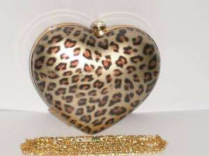 LADIES HEART GOLD LEOPARD PRINT CLUTCH EVENING BAG