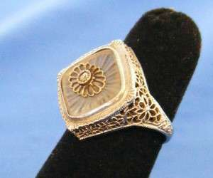 18k White Gold Rock Crystal Camphor Glass Diamond Filigree Ring