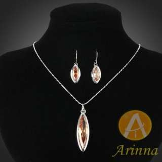 marquise pendant necklace earrings sets Swarovski Crystals
