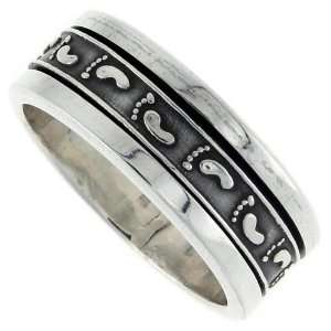 Sterling Silver 3/8 (10 mm) Foot Print Spinner Ring 11: Jewelry