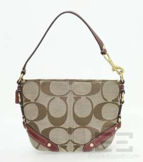 Brown Monogram Canvas & Red Leather Carly Red Signature Top Handle Bag