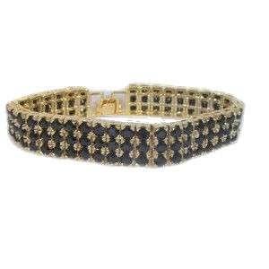 14k Yellow Gold ep Black CZ Tennis Bracelet 7 inches