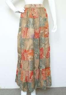 Bohemian Peasant Print Hippie Gypsy Patchwork Skirt