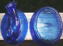 COBALT BLUE GLASS COW IN A BASKET COVERED DISH