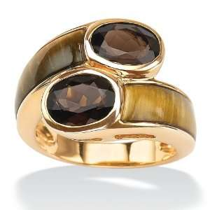 Gold Over Silver Tigers Eye Womens Ring Jewelry