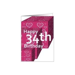 34 Birthday Greeting Card with Heart Covered Gifts Card