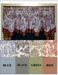 Layered Toile/Gingham Check Valances  Four Great Colors