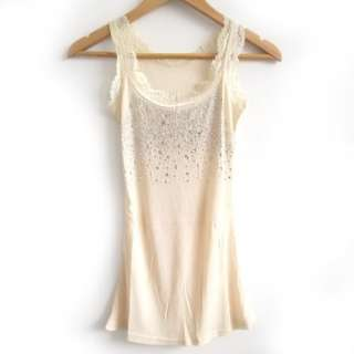 Rhinestone Lace Sleeveless Womens Casual Tank Top Vests T shirt