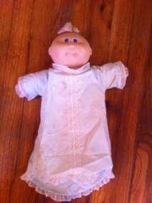 Cabbage Patch Baby Doll Blue Eyes Yellow Hair Tuft Head Stamped 1976