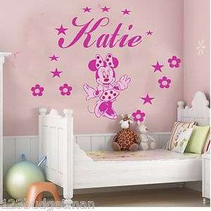 KIDS NAME MINNIE MOUSE STICKERS DECORATIONS DECALS WALL ART