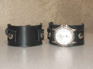 Handmade Wide Leather Cuff Watch Band Black