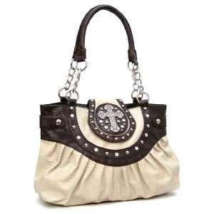 Beige Brown Western Rhinestone Cross Handbag Purse Satchel