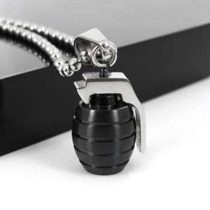 Cool Men Stainless Steel Pendant Grenade Necklace Chain