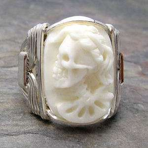 Cow Bone Lady Skull Cameo Sterling Silver Wire Wrapped Ring ANY size