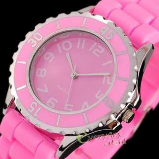 Pink Classic Jelly Gel Silicone Lady Women Girl Wrist Watch Sports NEW