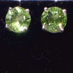Yellow Green Peridot Handmade Sterling 925 Silver Studs, Post Ladies