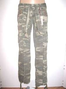 juniors CELLO camouflage STUDDED CAMO CARGO PANTS green NEW S 1 3