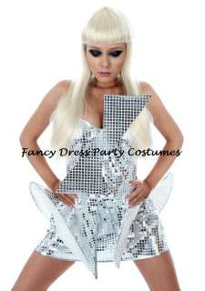NEW Pop Star Diva Lady Gaga Silver Metallic Dress Costume All Sizes 6