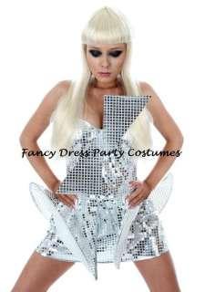 NEW Pop Star Diva Lady Gaga Silver Metallic Dress Costume All Sizes 6